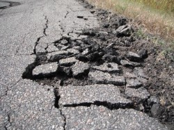 Old pavement crumbling