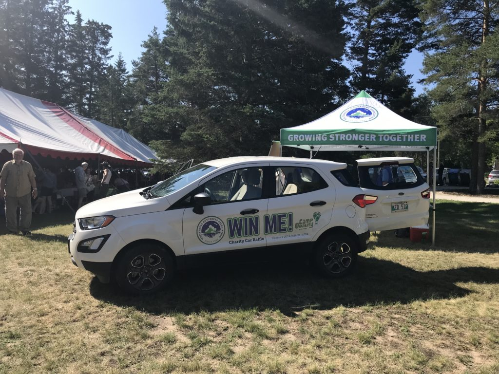 The car made its way to events throughout the Whiteshell this summer. Here it is at Meteor Fest