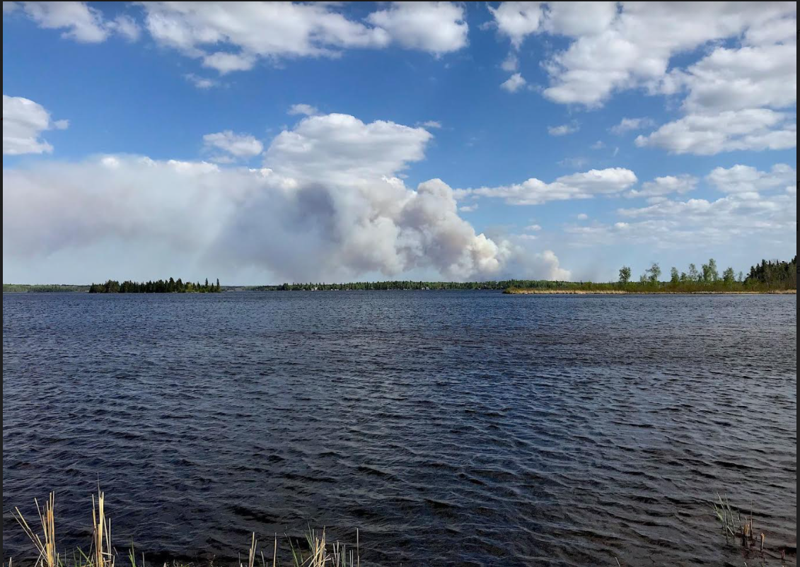 Sailing Lake fire as seen from Jessica Lake boat landing – credit William Christie Red Rock Facebook Page